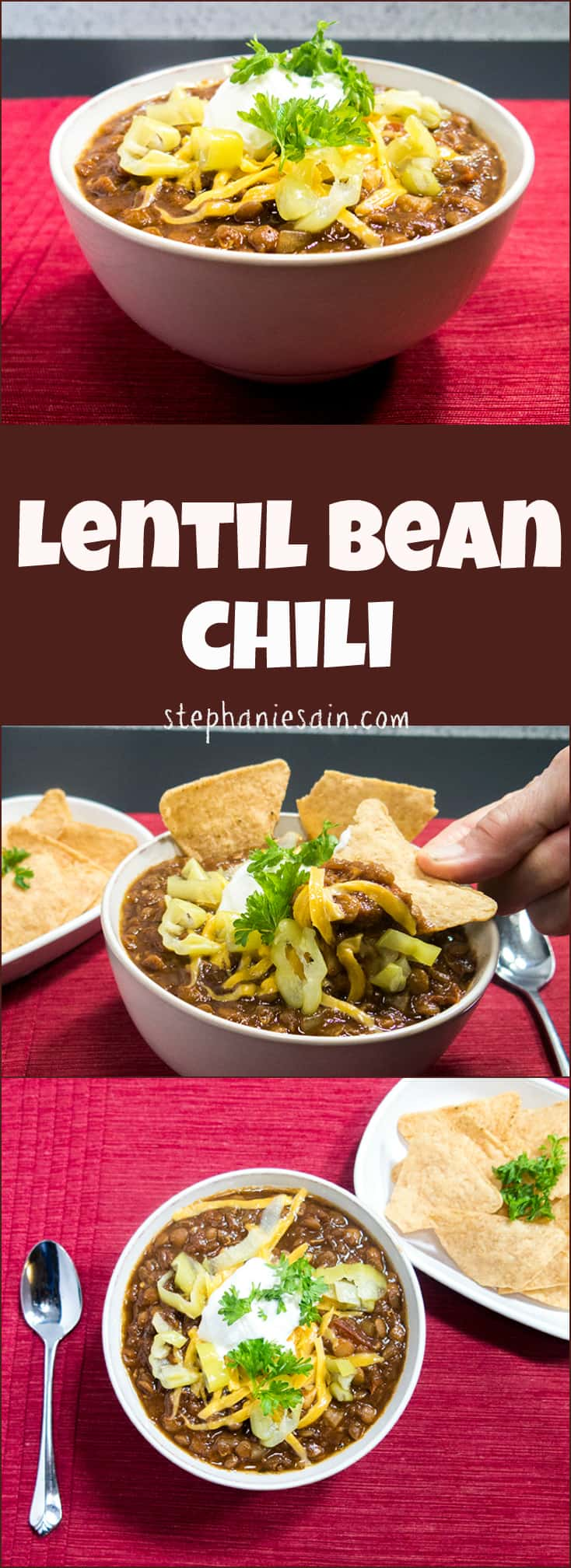 Lentil Bean Chili is an easy to prepare Chili perfect for all your upcoming fall days. Great with all your favorite toppings. Vegetarian, Vegan, Gluten Free.