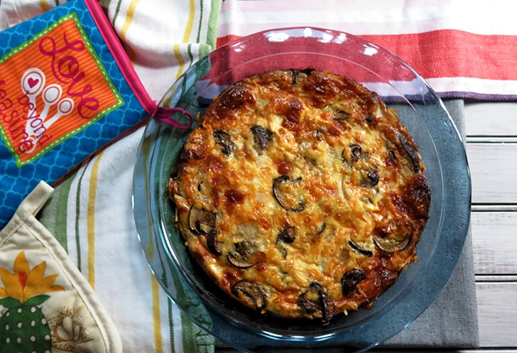 Mushroom Cheddar Quiche with Hash brown crust