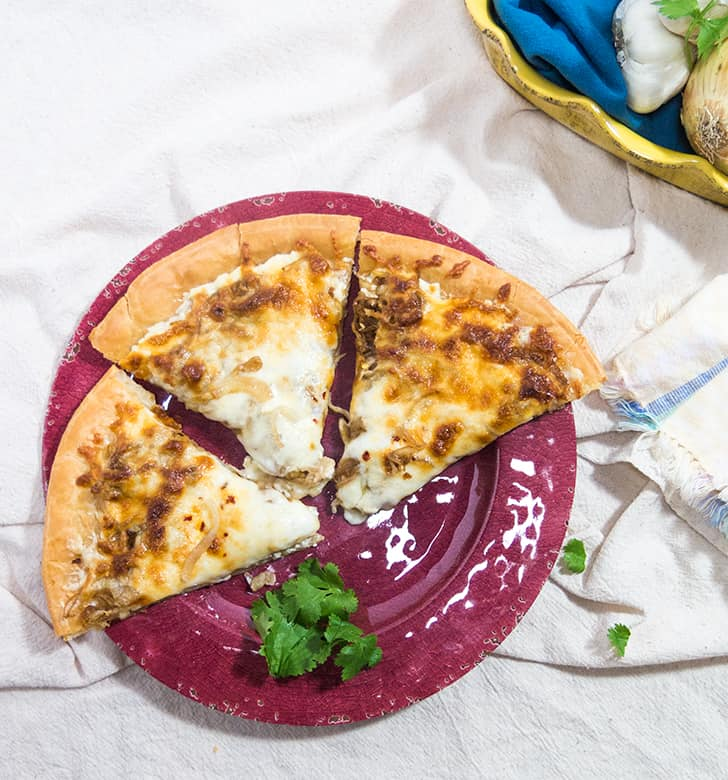 Caramelized Onion & Cream Cheese Pizza