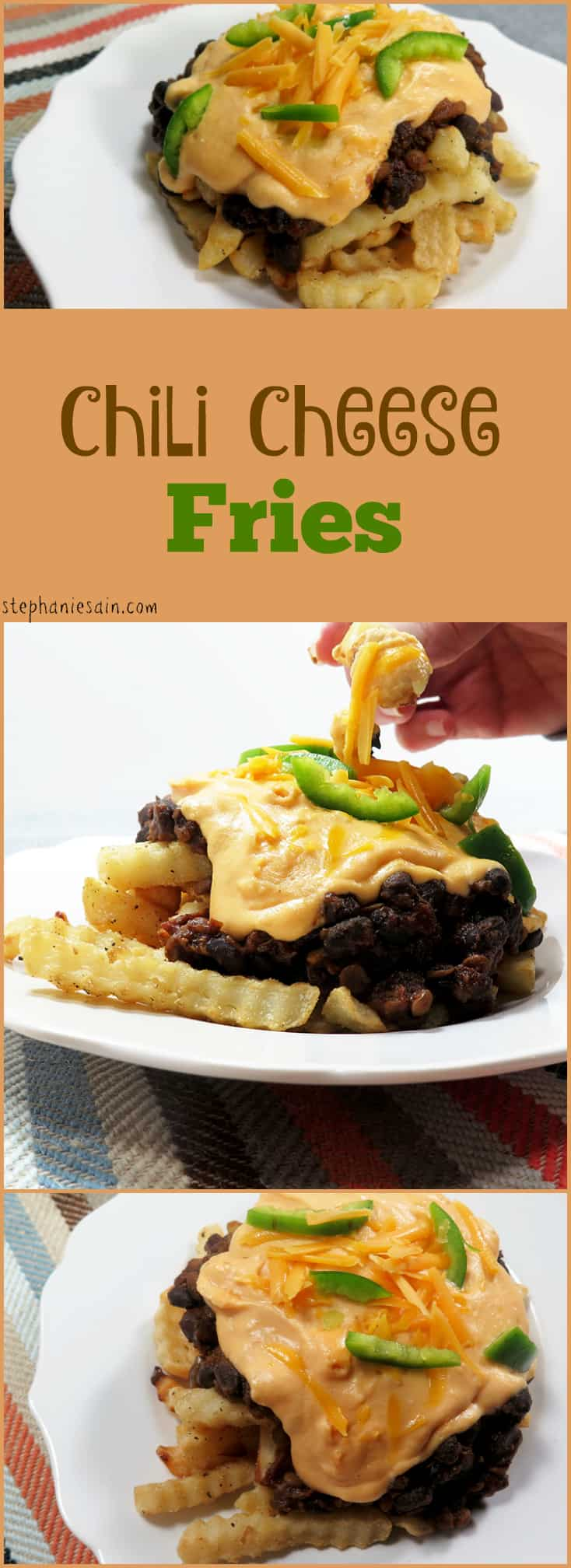 Chili Cheese Fries are a quick, tasty dinner to throw together when you're short on time. Vegetarian and Gluten Free.