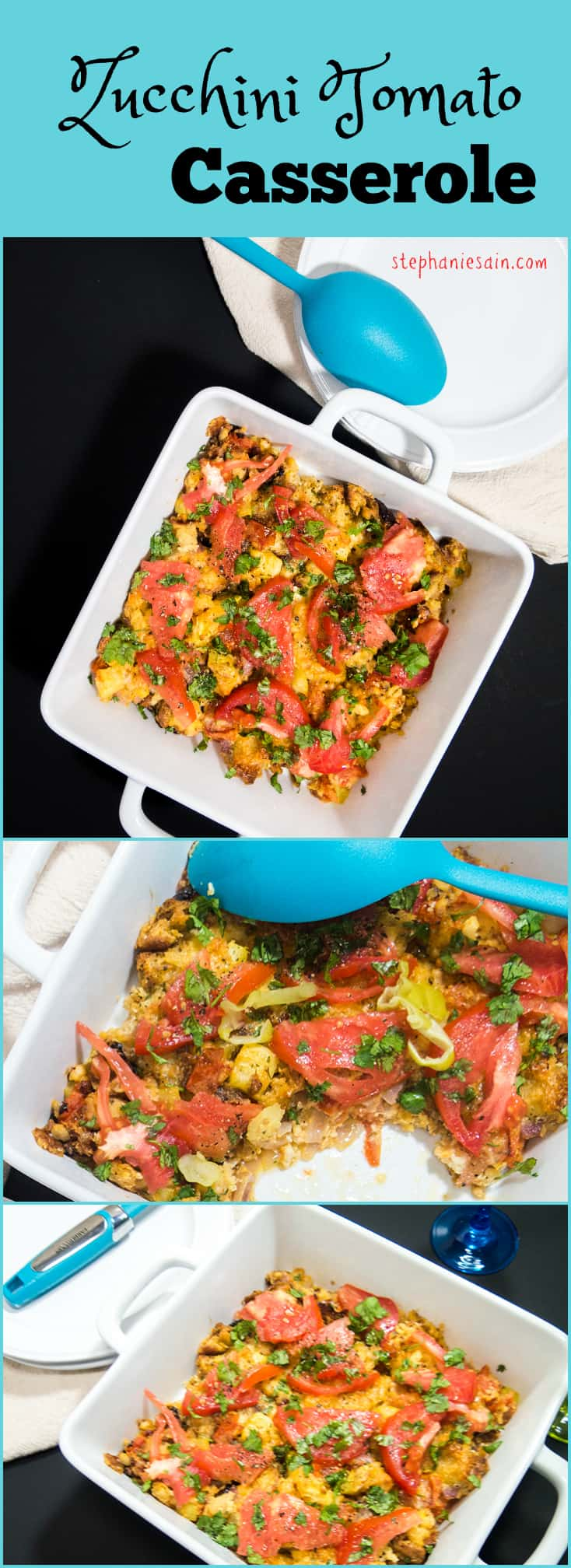 Zucchini Tomato Casserole is perfect for any occasion. Can be made ahead and easily re-heated. Vegetarian and Gluten Free.