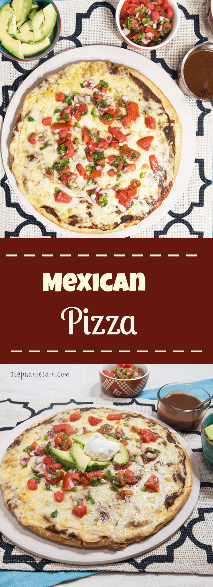 Mexican PIzza is a simple to prepare pizza topped with all your favorite mexican flavors. Vegetarian and Gluten Free.