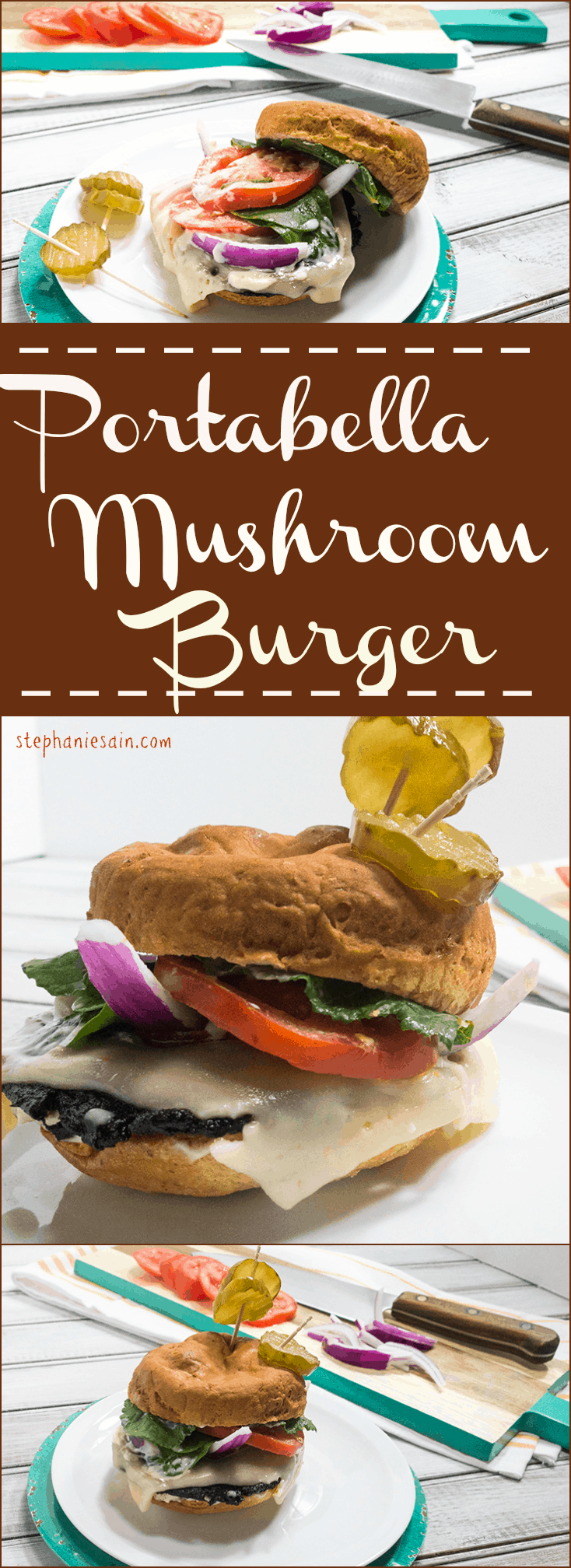 Portabella Mushroom Burger is a healthier way to switch up burger night. Vegetarian and Gluten free. Also Vegan if not topped with cheese.