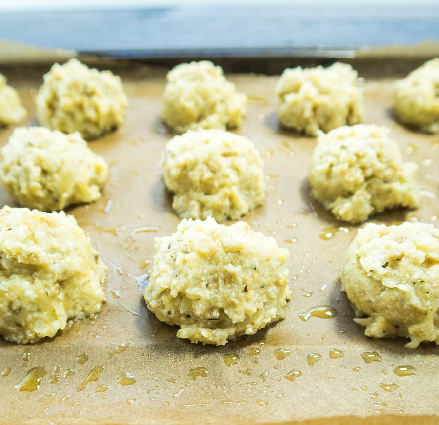 Cauliflower Meatballs prior to being cooked