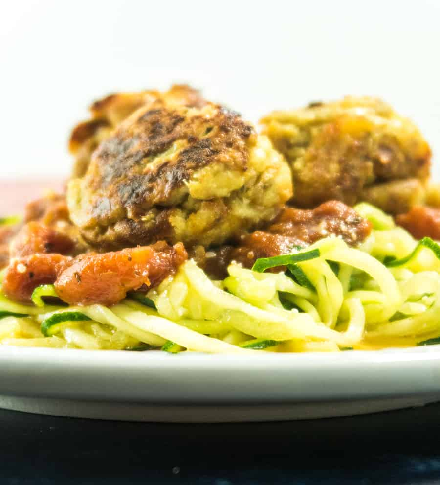 Zoodles with Cauliflower Meatballs on a plate