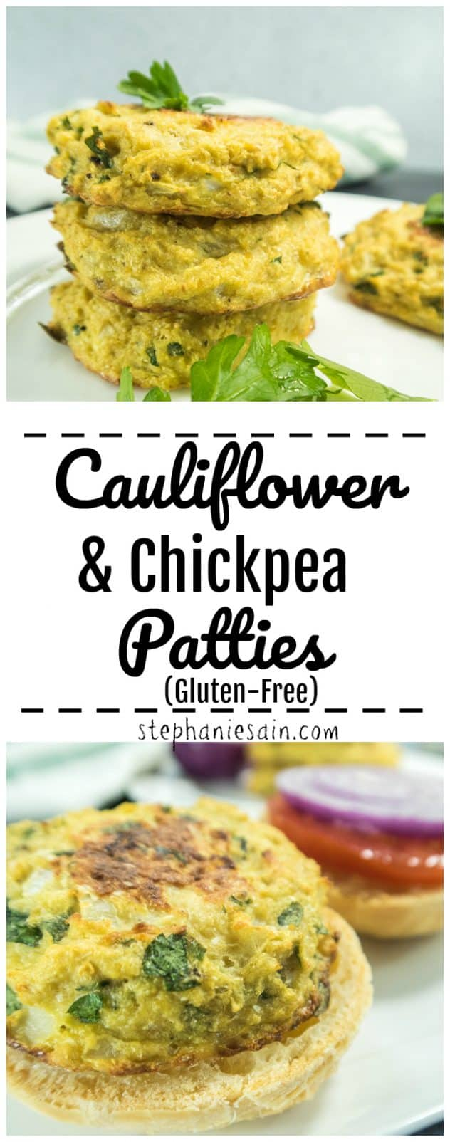 These Cauliflower & Chickpea patties are high in protein & super delicious. Great topped with all your favorite veggie burger toppings or even served cold as a snack. Gluten Free & Vegetarian.