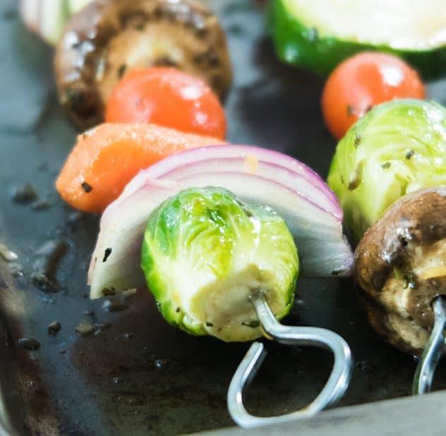 Marinated Vegetables on skewers