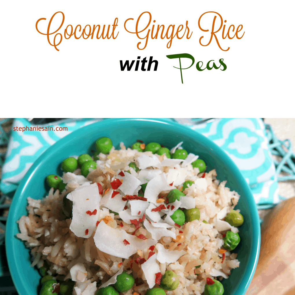 coconut ginger rice with peas
