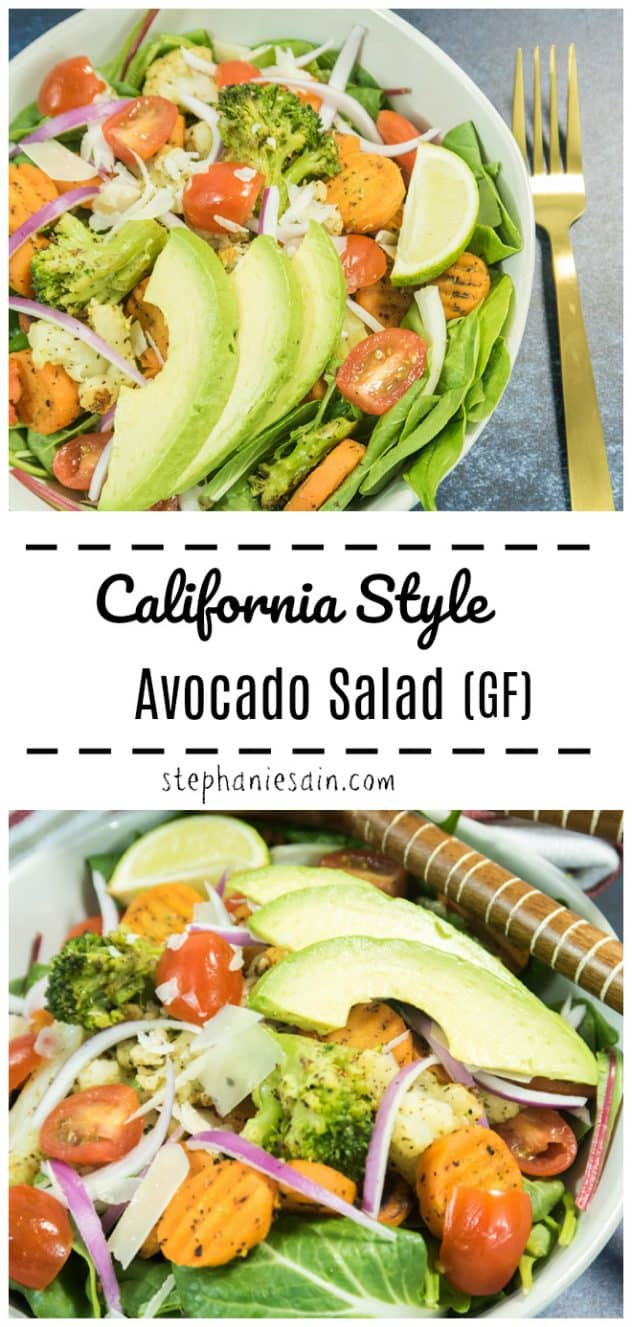 This California Style Avocado Salad is super Quick & Easy to prepare in under 30 minutes. Great meal for busy nights and it's a satisfying salad that can easily stand alone as a meal. Veggies, Avocado, all topped on a bed of greens. Gluten Free & Vegan option.