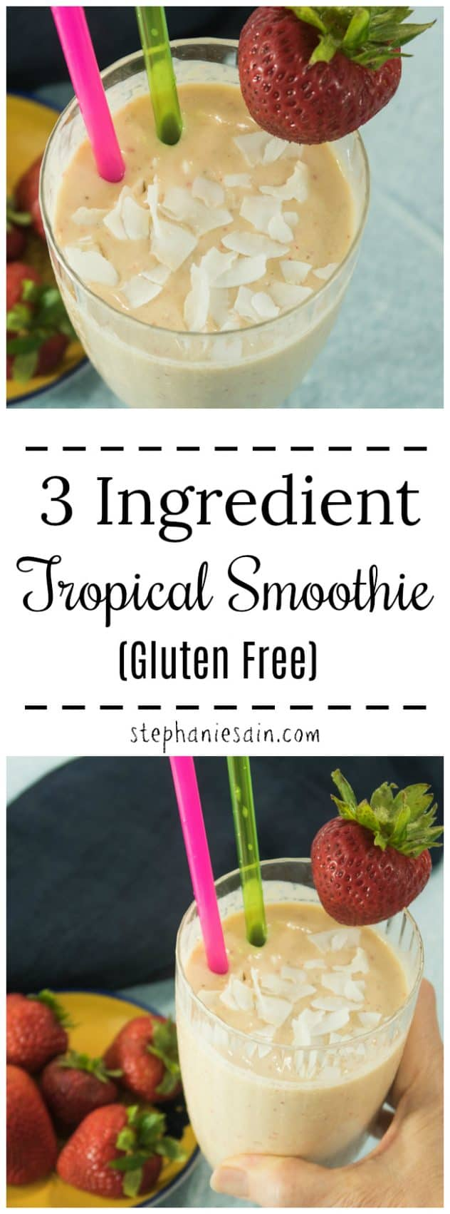 This 3 ingredient Tropical smoothie is super easy to make in under 5 minutes. Great for a quick breakfast or snack. Thick, creamy and tastes just like a milkshake. Healthy ingredients, no added refined sugars, & Gluten free.