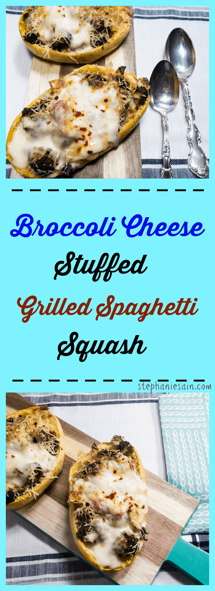 Broccoli Cheese Stuffed Grilled Spaghetti Squash is vegetarian, gluten free and prepared on the grill.