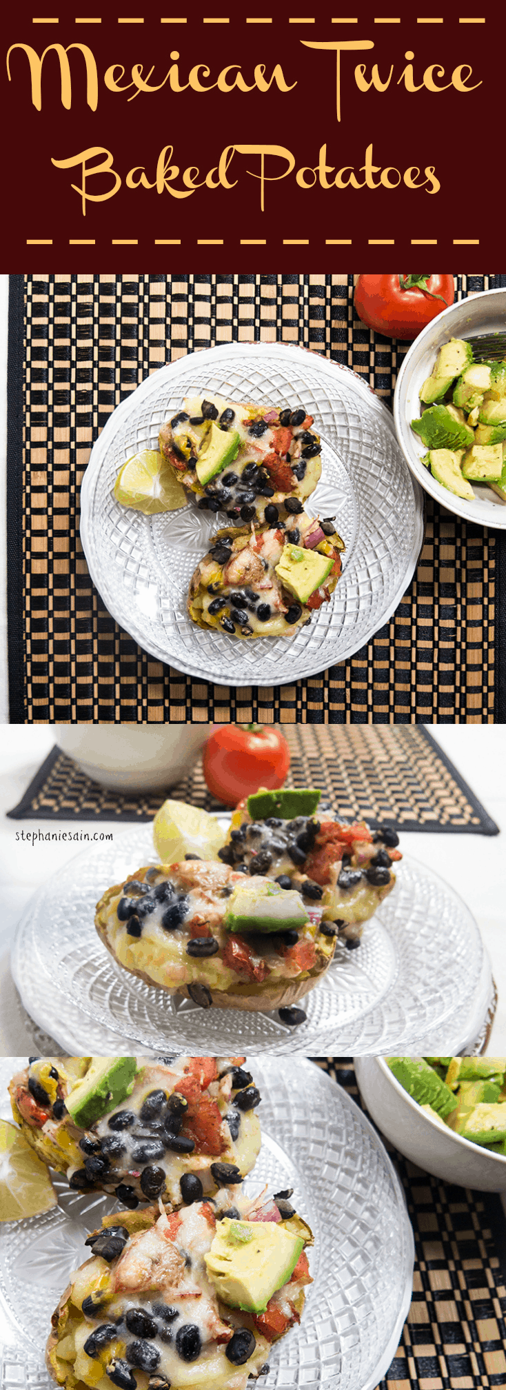 Mexican Twice Baked Potatoes are an easy to prepare dinner packed with great Mexican flavors. Vegetarian and Gluten Free.