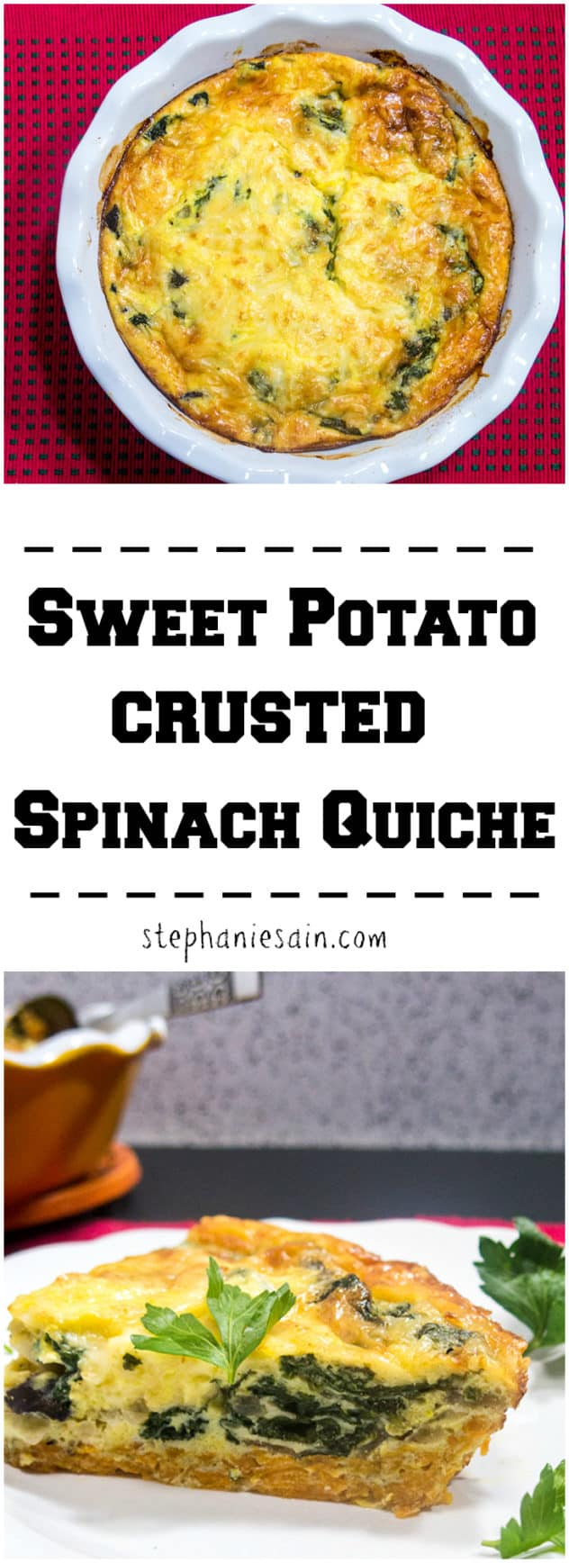 Sweet Potato Crusted Spinach Quiche is a tasty, healthy quiche prepared with a shredded sweet potato crust. Perfect for brunch or dinner. Vegetarian and Gluten Free.