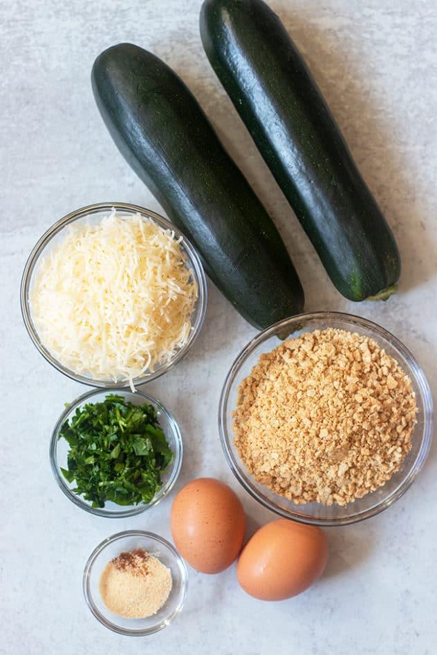 zucchini, parmesan cheese, cracker crumbs, parsley, eggs, seasonings