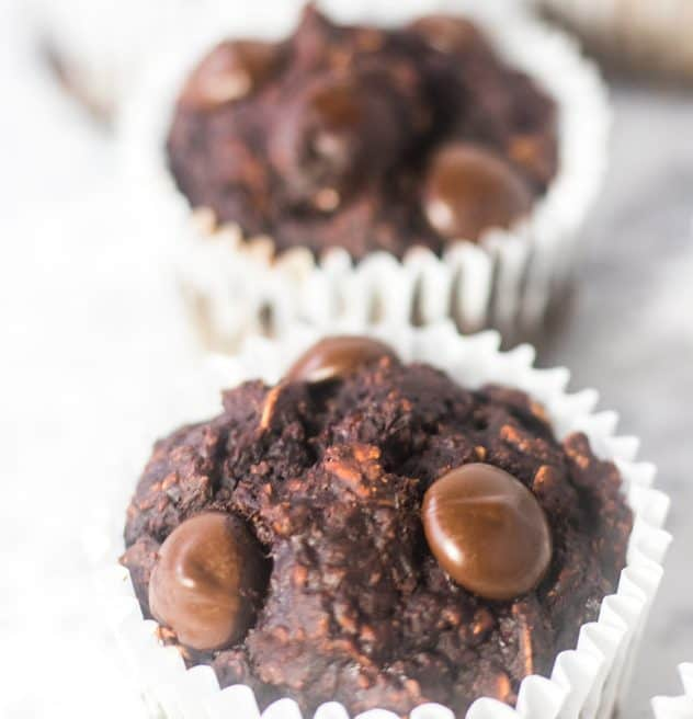 Chocolate Muffins loaded with chocolate chips and oatmeal.