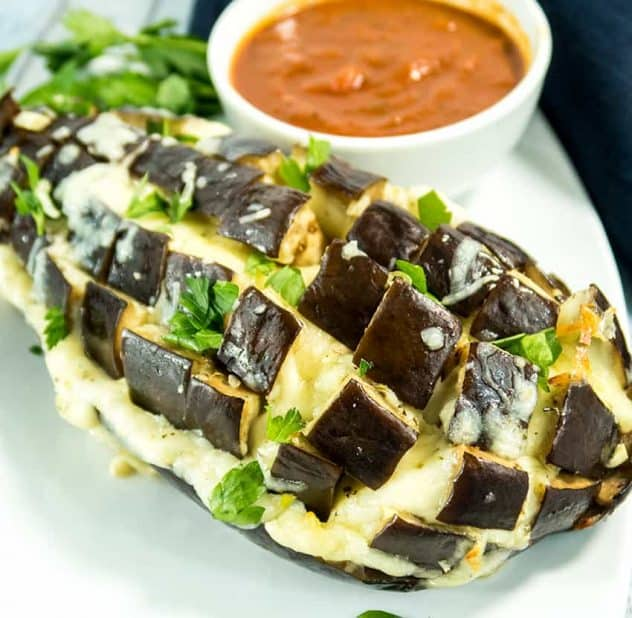 Cheesy Garlic Pull Apart Eggplant