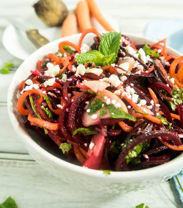 Spiralized Carrot Beet & Apple Salad