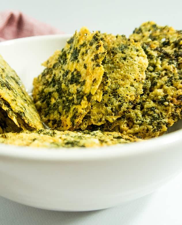 Four Ingredient Parmesan Kale Crisps