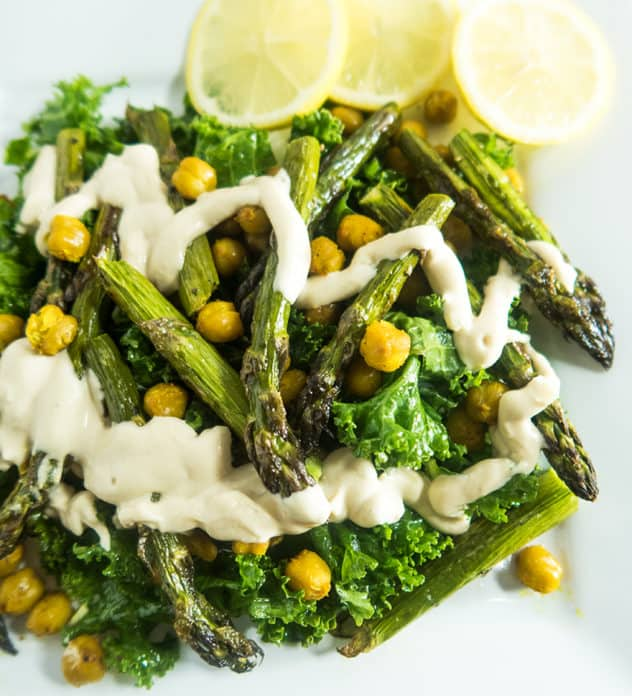 Asparagus Chickpea Salad with Tahini Dressing