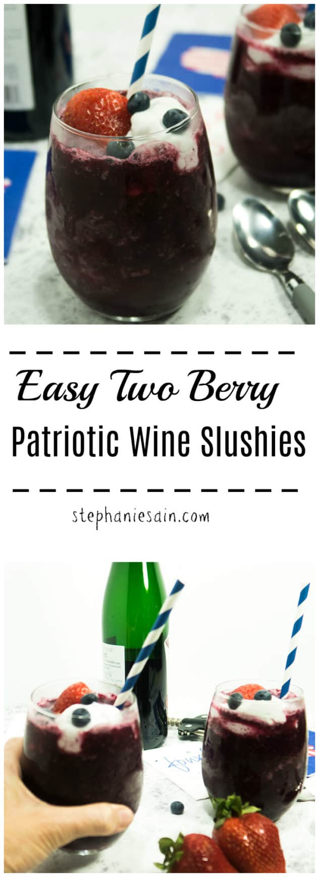 Easy Two Berry Patriotic Wine Slushies are the perfect way to cool off this summer. Made with frozen berries and topped with coconut cream. Vegan & Gluten Free.