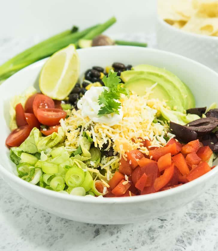 Best Vegetarian Black Bean Taco Salad | Apples for CJ