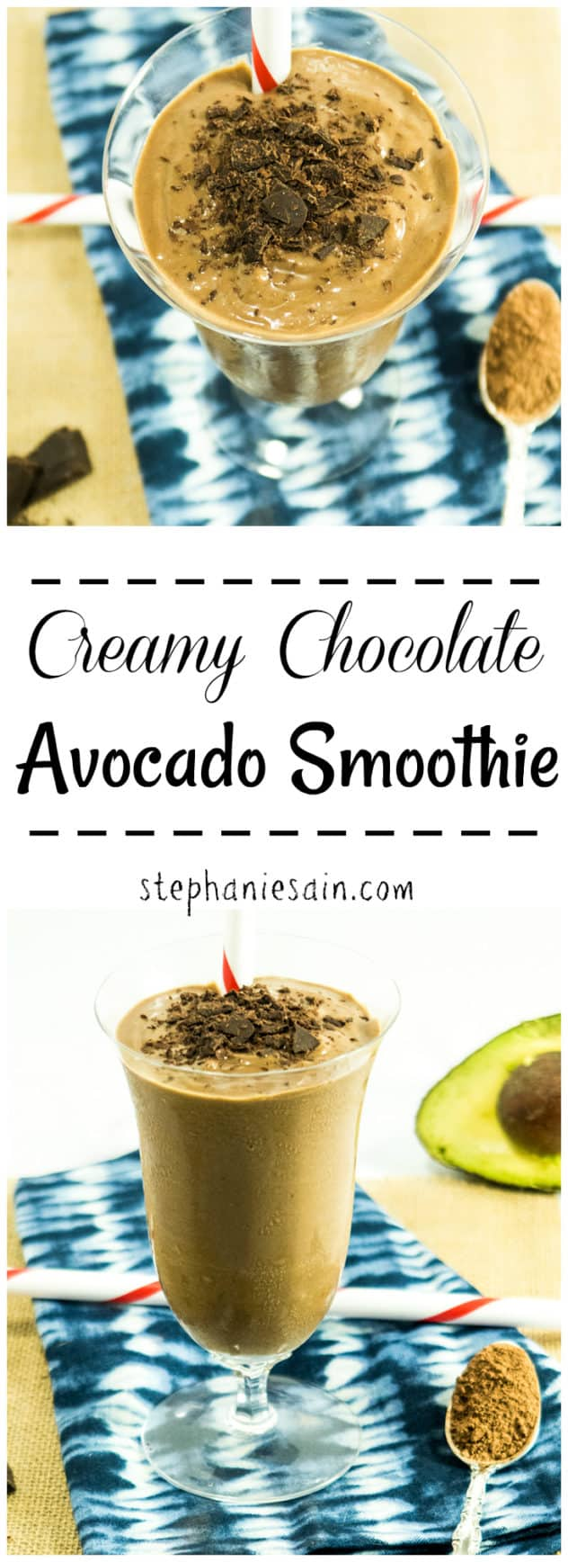 This Creamy Chocolate Avocado Smoothie requires only 4 ingredients for a thick, ultra creamy delicious smoothie. Great for breakfast, post workout snack, or even dessert. Vegan & Gluten Free.