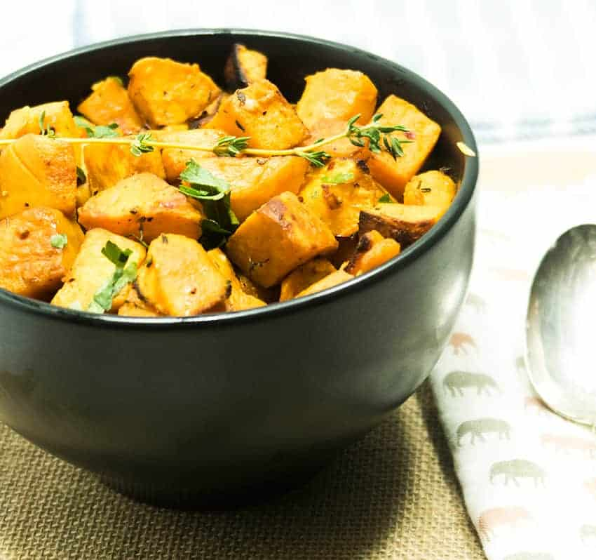 Simple Roasted Sweet Potatoes: Garlic Herb Roasted Sweet Potato Bites