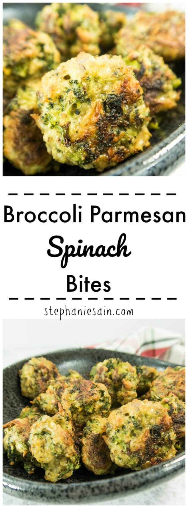 These Broccoli Parmesan Spinach Bites are the perfect tasty little treat. Perfect for snacking or an appetizer. Also makes a great main course option. Loaded with healthy veggies and even goes great with your favorite dipping sauce. Gluten Free & Vegetarian.