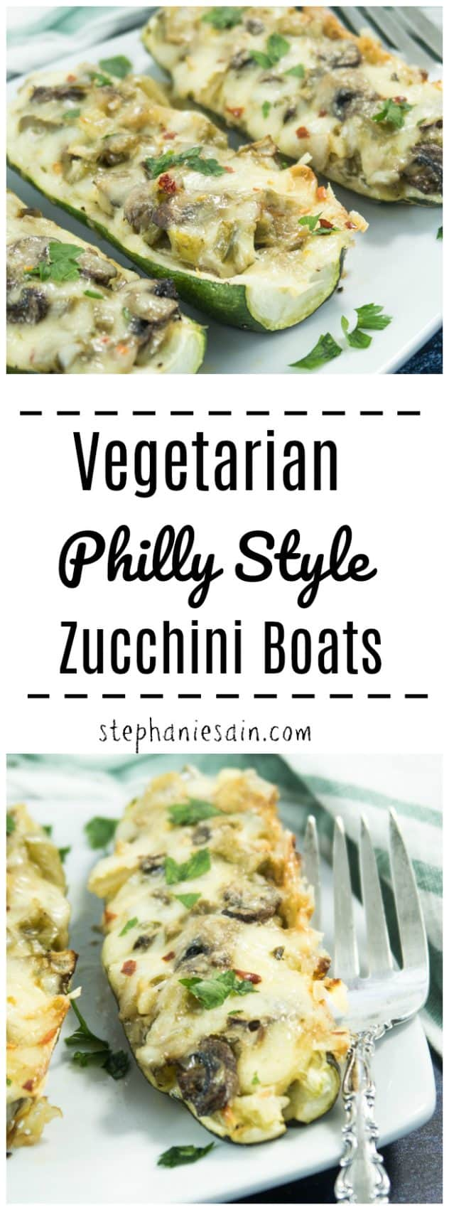 These Vegetarian Philly Style Zucchini Boats have all the same flavors of a classic Philly sub without the bread. Loaded with sauteed bell peppers, onions, mushrooms & cheese for an easy tasty dinner. Gluten Free & Vegetarian.