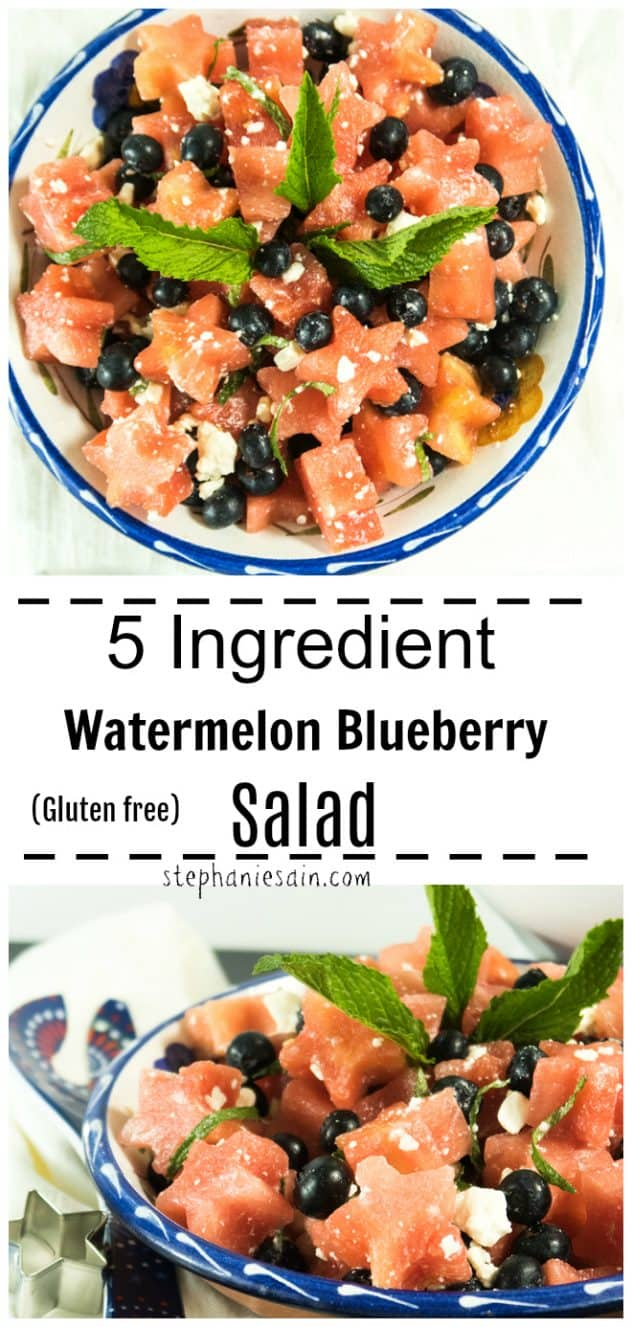 This 5 Ingredient Watermelon Blueberry Salad is perfect for all your summer BBQ's, gatherings or potlucks. Made with fun watermelon star shapes and would be perfect for a 4th of July celebration or anytime you want a little different salad. Gluten Free, Vegan option.