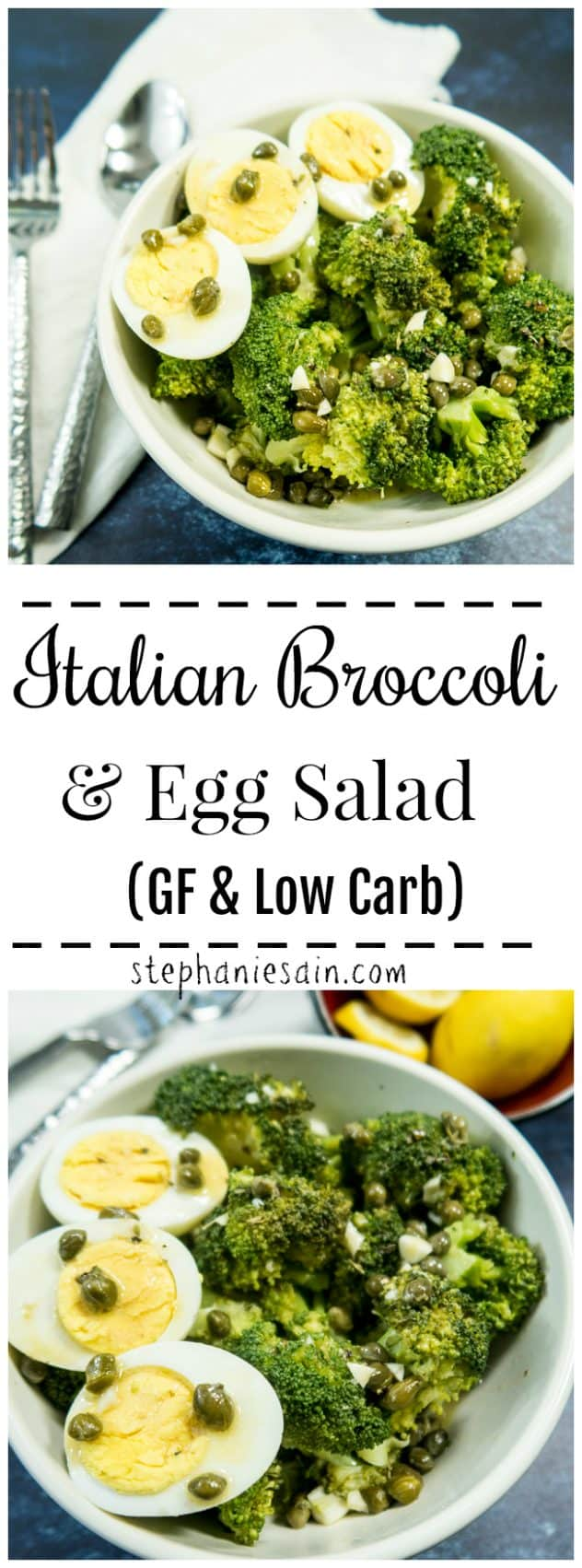This Italian Broccoli & Egg Salad is super Easy to prepare and perfect for a tasty, healthy refreshing summer lunch or dinner. Only 2 ingredients in the salad and all topped with a lemony caper dressing! Gluten Free & Low Carb.