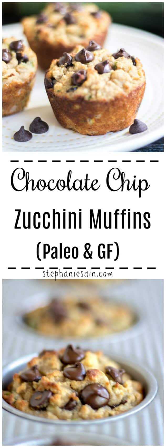 These Chocolate Chip Zucchini Muffins are the perfect healthy way to start your day. Loaded with chocolate & fresh zucchini so a great way to sneak in some veggies. Also good for mid-day snacking or to pack in lunches. Paleo, Gluten Free & No added Refined Sugar.