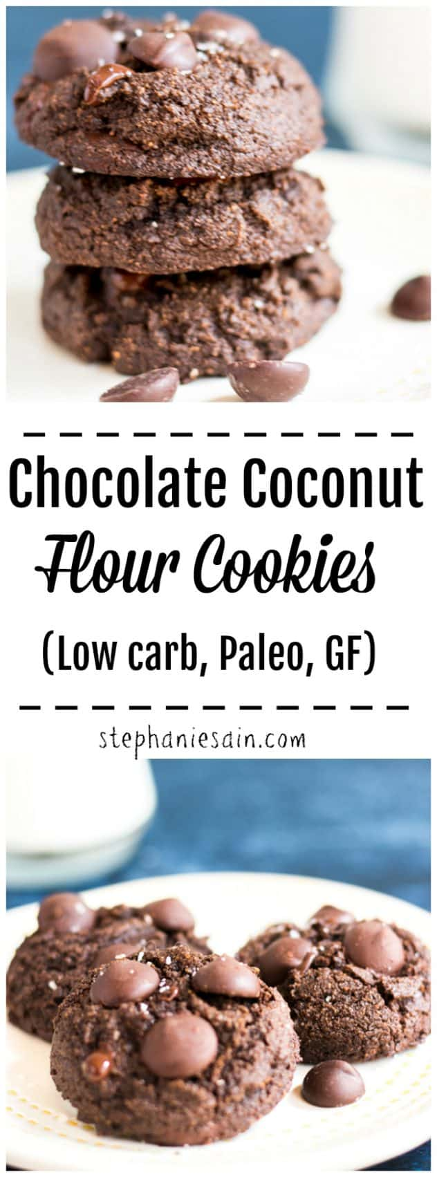 These Chocolate Coconut Flour Cookies are super easy to make, healthy and loaded with rich decadent chocolately goodness. Perfect for snacks or lunch boxes. No added refined sugar, low carb, GF, & Paleo.