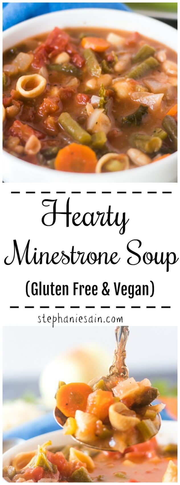 This Minestrone Soup is hearty, comforting & delicious. Chocked full of tons of healthy veggies, tomatoes, & pasta. Super easy to prepare and great for a comforting weeknight or weekend meal. Gluten Free & Vegan.