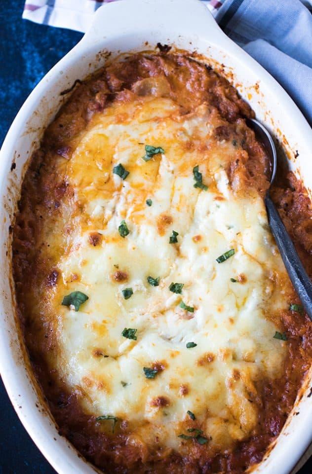 Spaghetti Squash Lasagna in a casserole dish