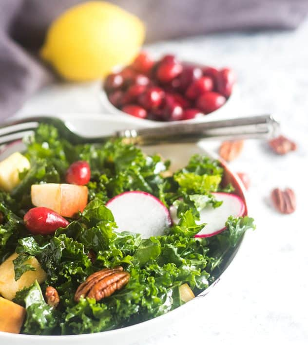 Apple Cranberry Kale Salad in a bowl with fork and cranberries and lemon