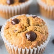 Coconut Flour Chocolate Chip Muffins in white baking cups.