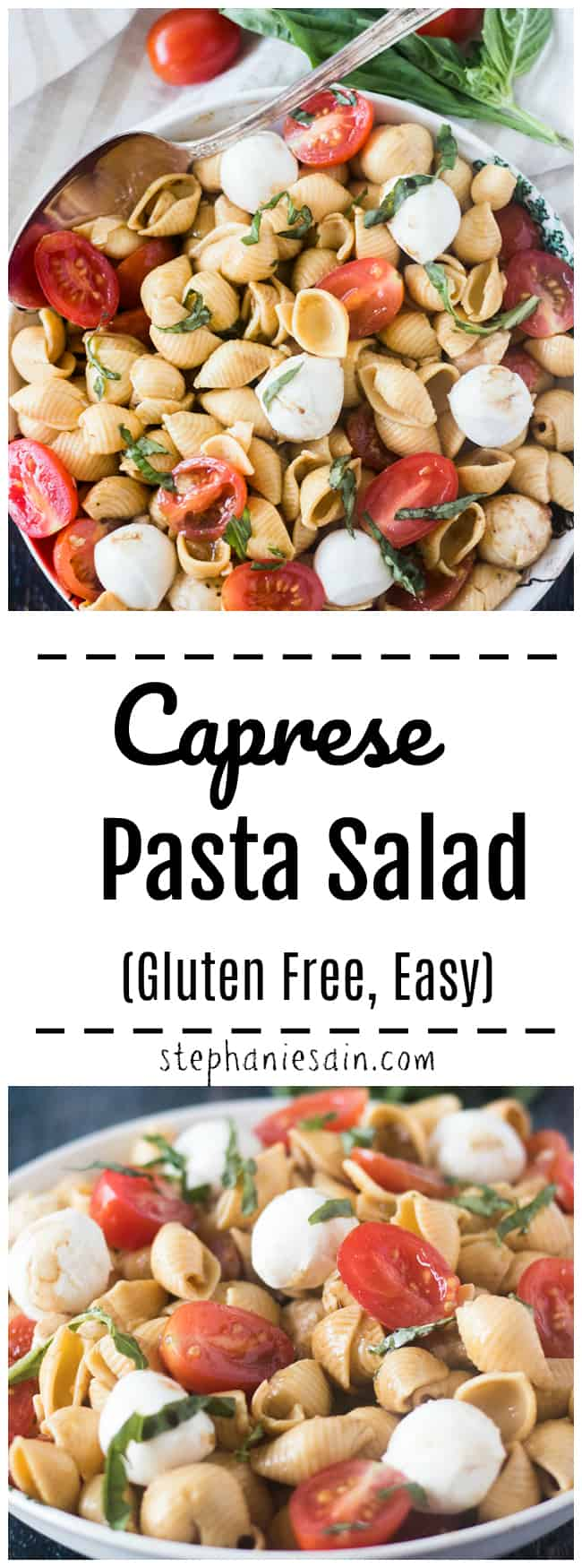 This Caprese Pasta salad is super easy to throw together and is the perfect make ahead salad for any occasion. Good for potlucks, gatherings or to serve to that special someone. Comes together in about 20 minutes. Gluten Free.