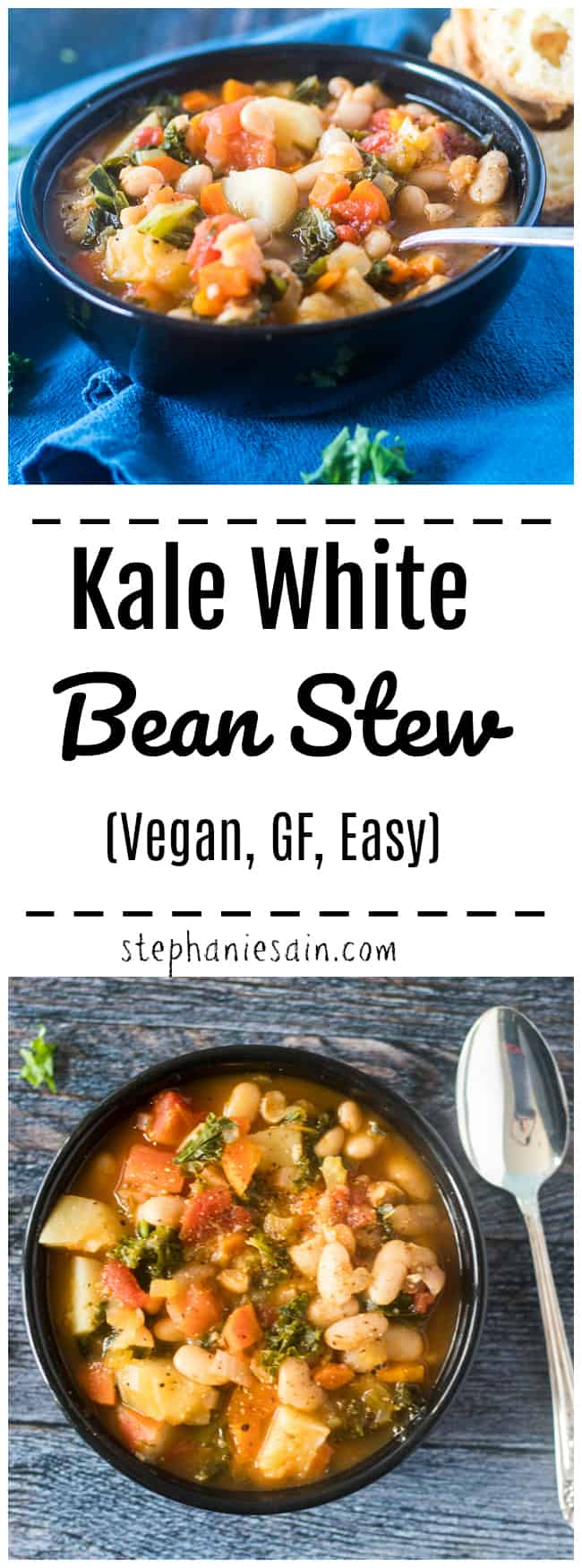 This Bean Stew is easy to make and a warm hearty bowl of comfort food for busy nights. Can also be made ahead and re-heated. Chocked full of a healthy array of veggies including white beans and kale. Gluten free, Vegan, Dairy free