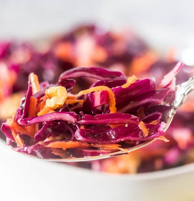 Red Cabbage Slaw on a silver spoon.
