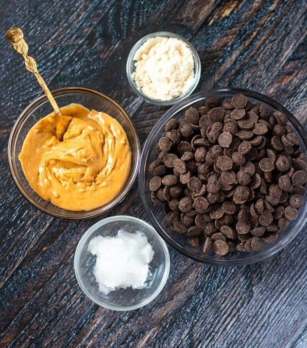 Coconut Flour, Cashew Butter, Dark Chocolate Chips, Coconut Oil
