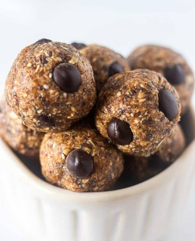 Chocolate Almond Butter Energy Bites in a white bowl.