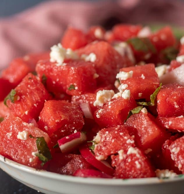 Watermelon Feta Mint Salad served in a white bowl.