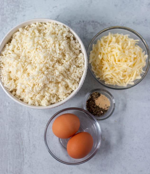 Cauliflower rice, Mozzarella cheese, eggs, seasonings