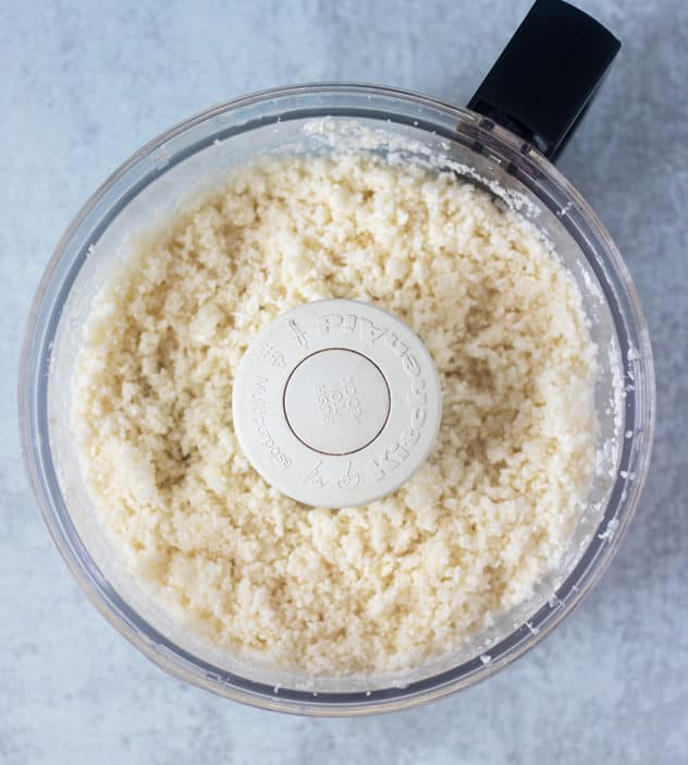 Riced cauliflower in a food processor