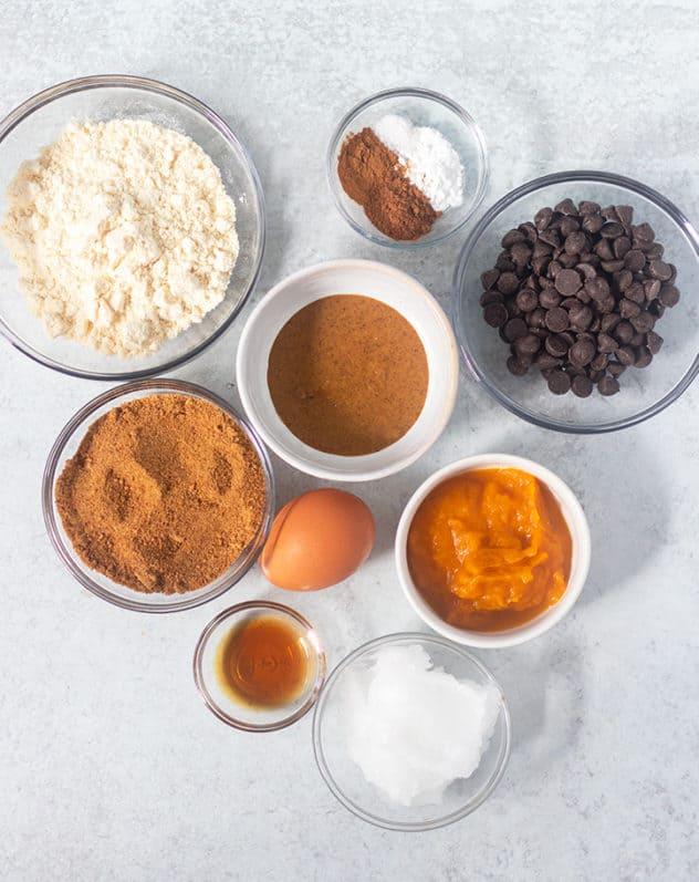 Coconut flour, coconut sugar, almond butter, pumpkin puree, coconut oil, vanilla extract, egg, seasonings, chocolate chips.