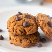 Pumpkin Chocolate Chip Cookies on a white plate