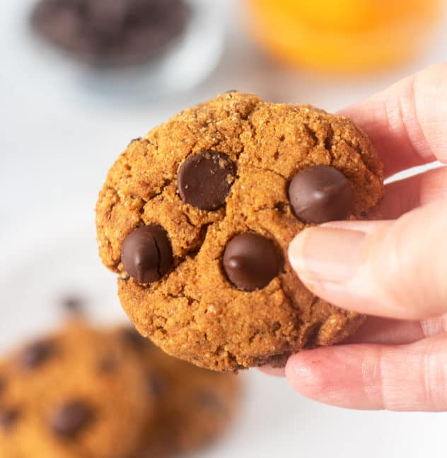 Holding a Pumpkin Chocolate Chip Cookie in hand.