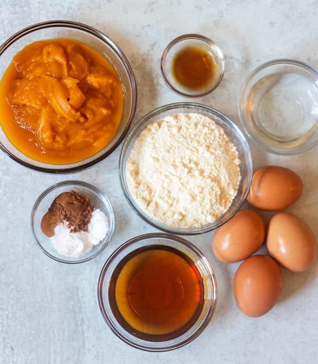 Pumpkin puree, coconut flour, spices, vanilla extract, eggs, maple syrup, coconut oil