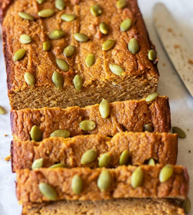 Paleo Pumpkin bread topped with pumpkin seeds